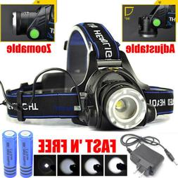 600000LM Rechargeable Head Light T6 LED Tactical Headlamp Fl