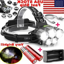 750000LM 5X T6 LED Headlamp Rechargeable Head Light Flashlig