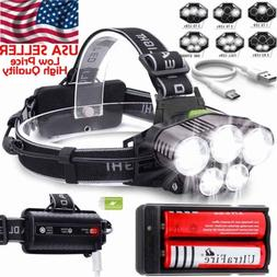 200000LM 5X T6 LED Headlamp Rechargeable Head Light Flashlig