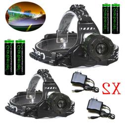 500000LM Zoomable Headlamp T6 LED Headlight Flashlight +Char