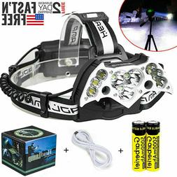 200000LM 11LED Headlamp USB Rechargeable 18650 Headlight Tor