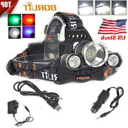 200000LM 3XXM-L L2 LED Headlamp Rechargeable Flashlight USB