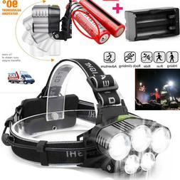 250000LM 5XT6 LED Headlamp Rechargeable Head Light Flashligh