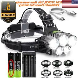 250000LM Headlamp 5XT6 LED Rechargeable Head Light Flashligh