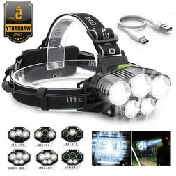 350000LM 5X T6 LED Rechargeable Super Bright Headlamp Headli