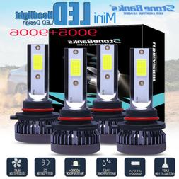 4X 9005 9006 mini LED Combo Headlight Kit Bulbs 6000K White