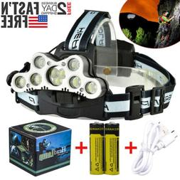700000LM 5X T6 LED Headlamp Rechargeable Head Light Flashlig