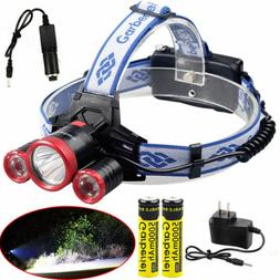 90000LM 3*T6 LED Rechargeable 18650 Headlamp Headlight Flash