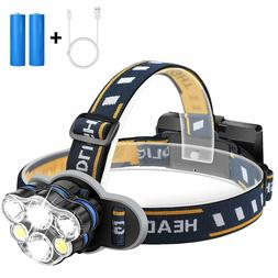 90000LM 5X CREE T6 LED Headlamp Headlight Flashlight Head To