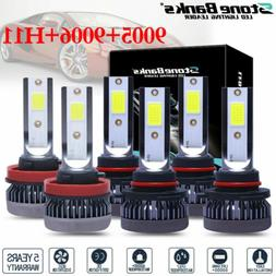 9005 9006 H11 Combo COB LED Headlight Fog Lamp Bulbs 6000K W