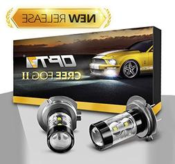 OPT7 H7 CREE XLamp LED DRL Fog Light Bulbs - 5000K Bright Wh