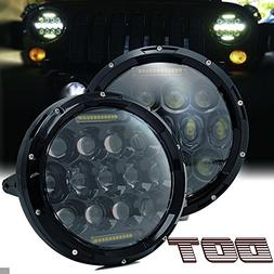 "TURBOSII DOT Approved Pair 75W 7""Inch Round LED Headlights w"