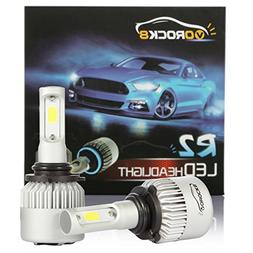 6500K Xenon White 1 Pair- 1 Year Warranty Dual Beam Head Light Halogen Head Light Replacement Hi//Lo Beam headlamp VoRock8 R2 COB 9004 HB1 8000LM LED Headlight Conversion Kit