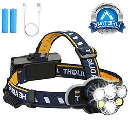 Headlamp Flashlight,6 Led Head lamps USB brightest Rechargea