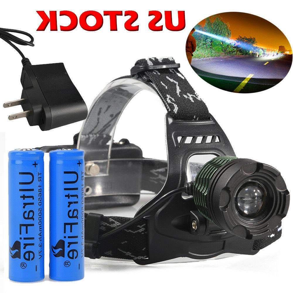 350000LM Zoomable LED Headlight Flashlight Battery US