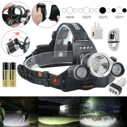 200000LM Headlamp Flashlight USB Head