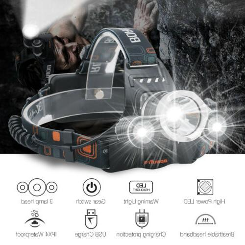 200000LM Headlamp USB Head