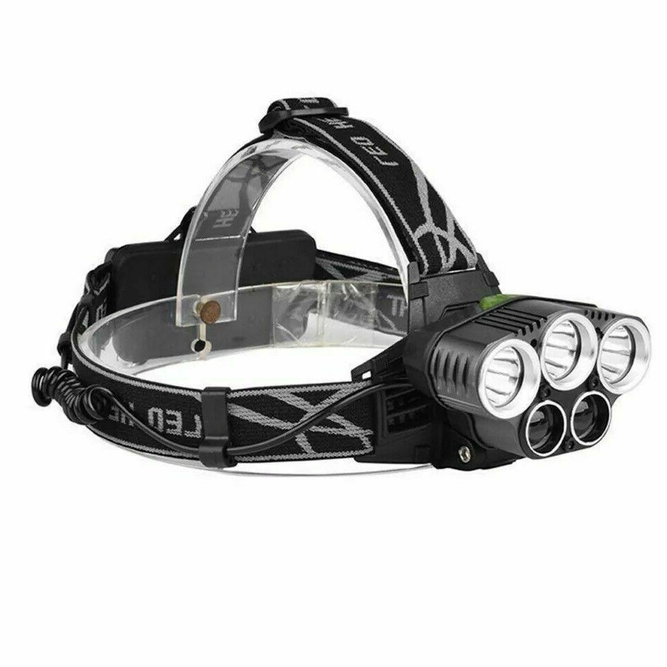 250000LM 5X T6 Headlamp Rechargeable Head Flashlight Torch