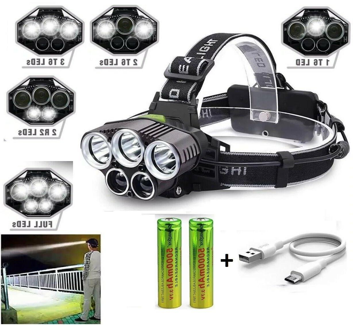 250000LM Headlamp Rechargeable Head Flashlight Torch