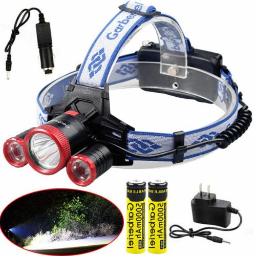 90000lm 3 t6 led rechargeable 18650 headlamp