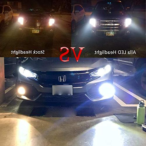 Alla H11 Headlight Bulbs or Fog Lights Super Bright H8 H11 LED Headlight or Fog Kits H11 Bulb, 6000K Xenon White