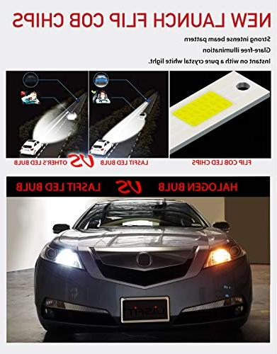 LASFIT H11/H8/H9/H16 LED Bulbs Crystal White 6000K 60W Kits Halogen Replacement for Beam/Low Beam/Fog Light Design Bulbs-Plug & Play