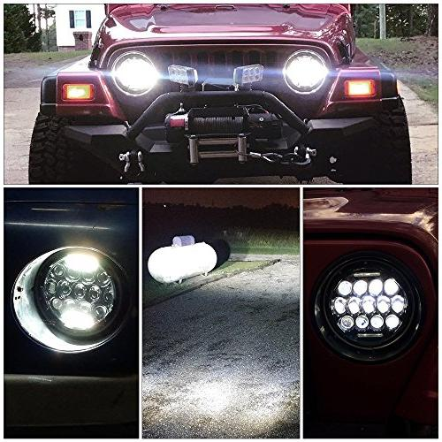 "TURBOSII DOT 75W 7""Inch Round Headlights with DRL Hi/Lo Beam For Wrangler CJ-5 TJ LJ JK Rubicon Sahara H2 Dodge Dakota"