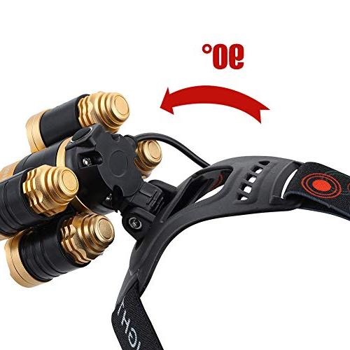 NEWEST Headlamp 12000 CREE LED with 18650 Batteries, 4 Modes Zoomable Head Lights for