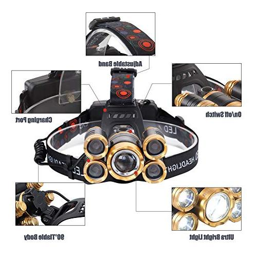 NEWEST Headlamp CREE with 18650 4 Zoomable Lamp Head Camping Cycling Hiking