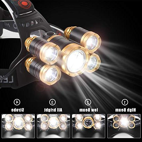 NEWEST Headlamp 12000 Lumen CREE LED Headlight with Rechargeable 4 Modes Zoomable Head Head Camping Cycling