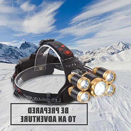 NEWEST Headlamp 12000 Lumen CREE Headlight with Rechargeable Batteries, 4 IPX4 Zoomable Head Head Cycling Hiking Hunting