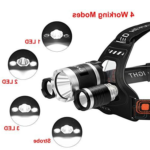 LED Kit, ANNAN Bright Headlight Light, Modes, Waterproof, Portable Light Biking, Batteries Included