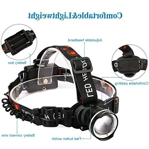 CrazyFire LED Super Bright Headlamp Headlight 3 Zoomable for Runing,Hiking,Camping,Fishing,Hunting