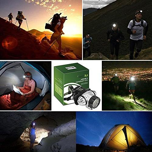 LE LED Headlamp, Lighting Modes, Helmet Light Outdoor, Camping, Running, and AAA Batteries Included