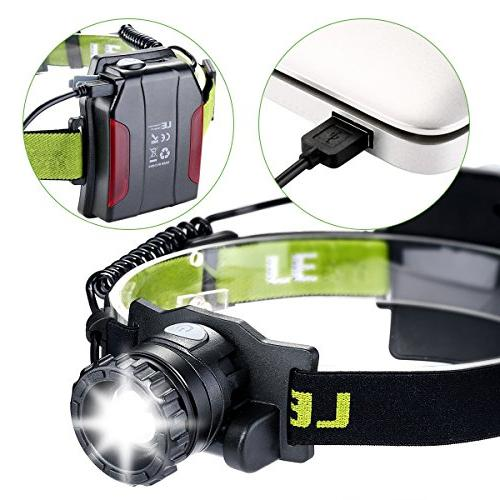 LE Rechargeable Headlamp, LED, Lumens Super Bright, Lighting Modes, Lightweight Camping, Hiking, and More