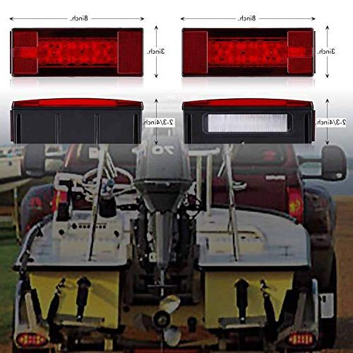 SUZCO Submersible Boat Tail Rear Utility kit/Set, Low Rectangle Tail Running Signal Waterproof inches