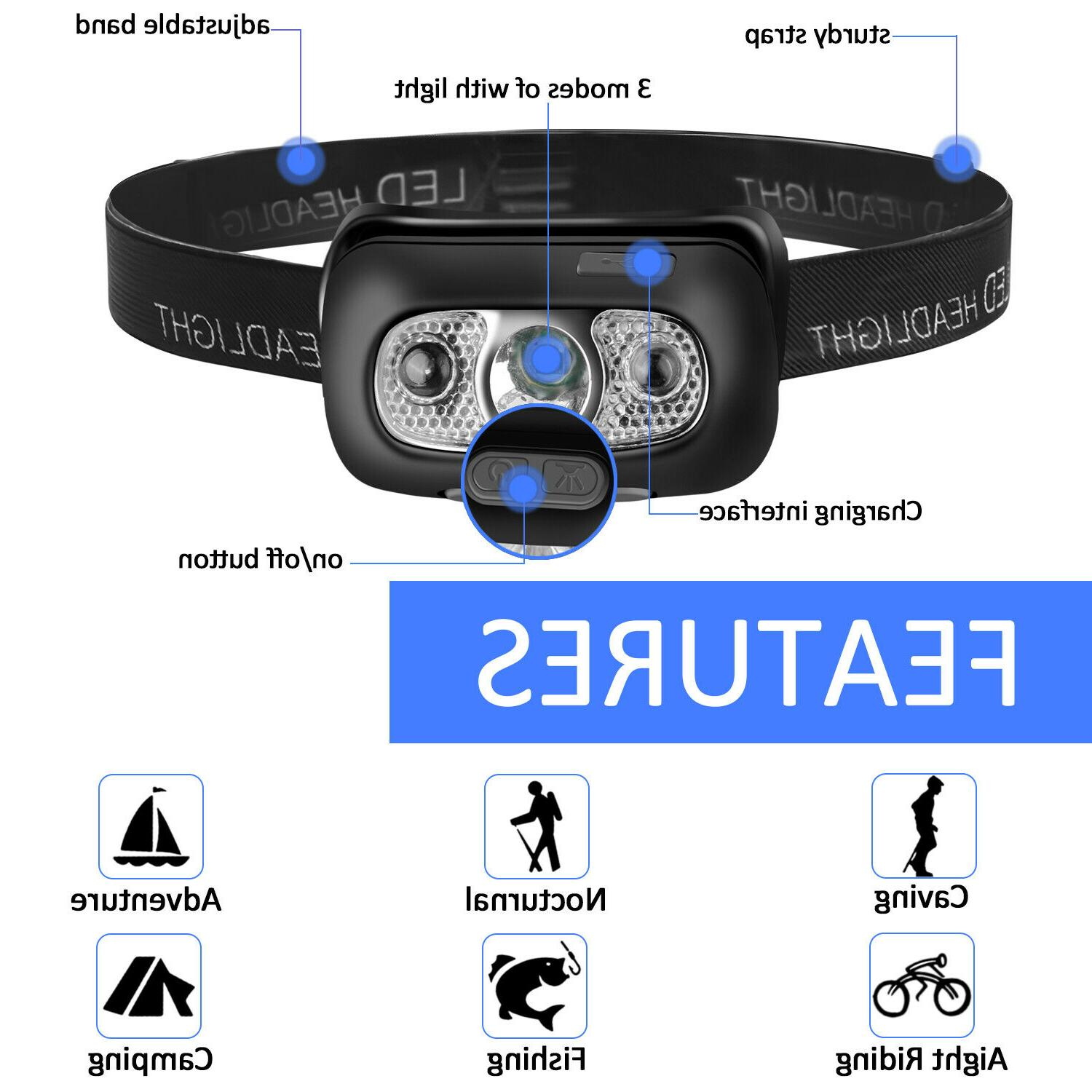 USB Rechargeable Headlight Head Torch