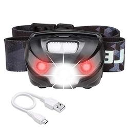 LE Rechargeable LED Headlamp, 5 Lighting Modes, Lightweight