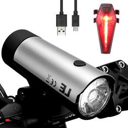 LE USB Rechargeable LED Bicycle Bike Front Headlight and Rea