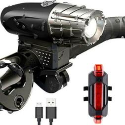 LED Bicycle Bike Headlight USB Rechargeable and Rear Tail Li