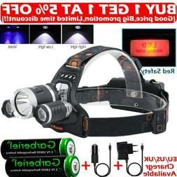 Rechargeable 90000LMS 3 X T6 LED Headlamp Headlight Flashlig