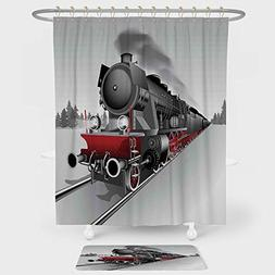 Steam Engine Shower Curtain And Floor Mat Combination Set Lo