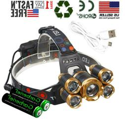 Super-bright 99000LM 5 X T6 LED Headlamp Headlight Flashligh