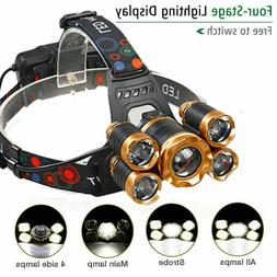 Super-bright 600000LM 5 X XM-L T6 LED Headlamp Headlight Fla