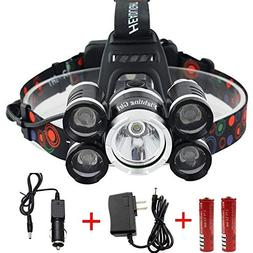 Waterproof 12000 Lumen 5 Led Headlamp XML T6+4Q5 Head Lamp P